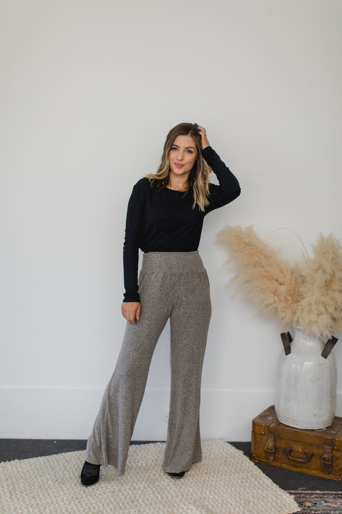 On The Road Sydney Wide Leg Pant - Granite
