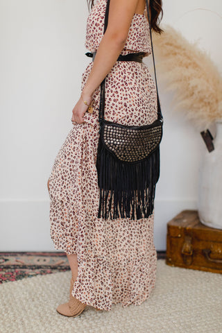 Eliza Leaf Print Ruffle Hem Slip Dress