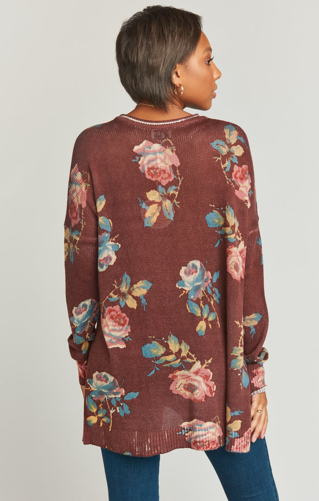 Bonfire Sweater in Chocolate and Roses