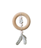 Chewable Charm Dreamcatcher Silicone + Wood Teether- Rose Quartz