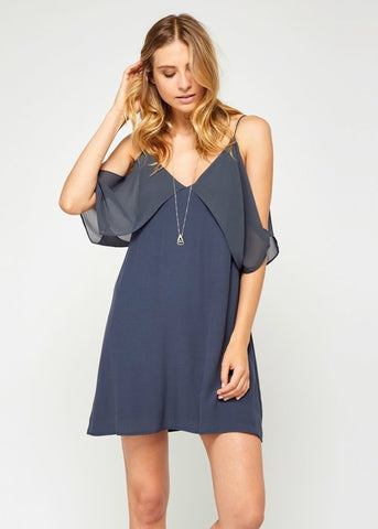 Cold Shoulder Silk Dress