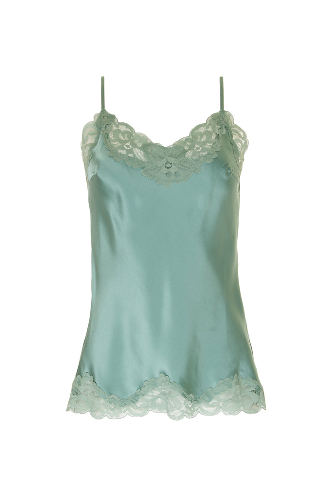 e0235e9d0a1820 Gold Hawk Floral Lace Silk Cami in Oil Blue – PRIM Boutique