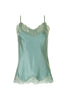Floral Lace Silk Cami in Oil Blue