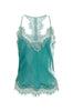 Velvet Cropped Lace Cami in Oil Blue