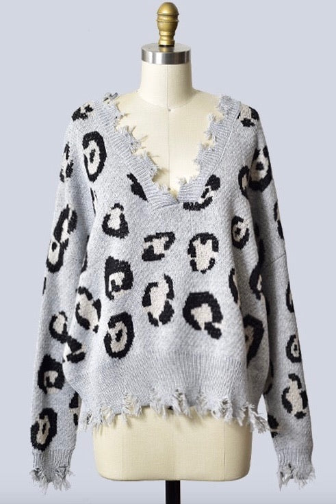 Leopard Love Distressed Sweater
