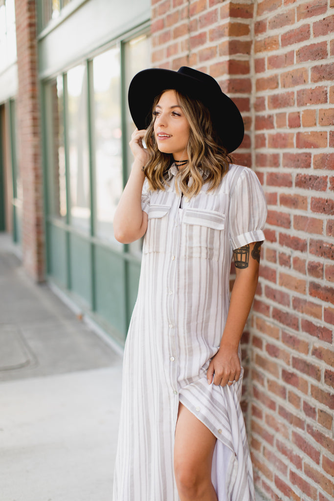Kingston Button Up Maxi Tunic Dress- Slate Stripe
