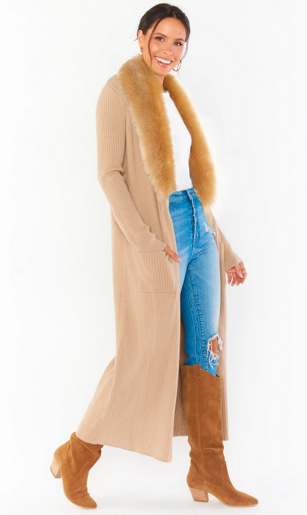 Show Me Your Mumu Lombardi Long Cardi- Taupe
