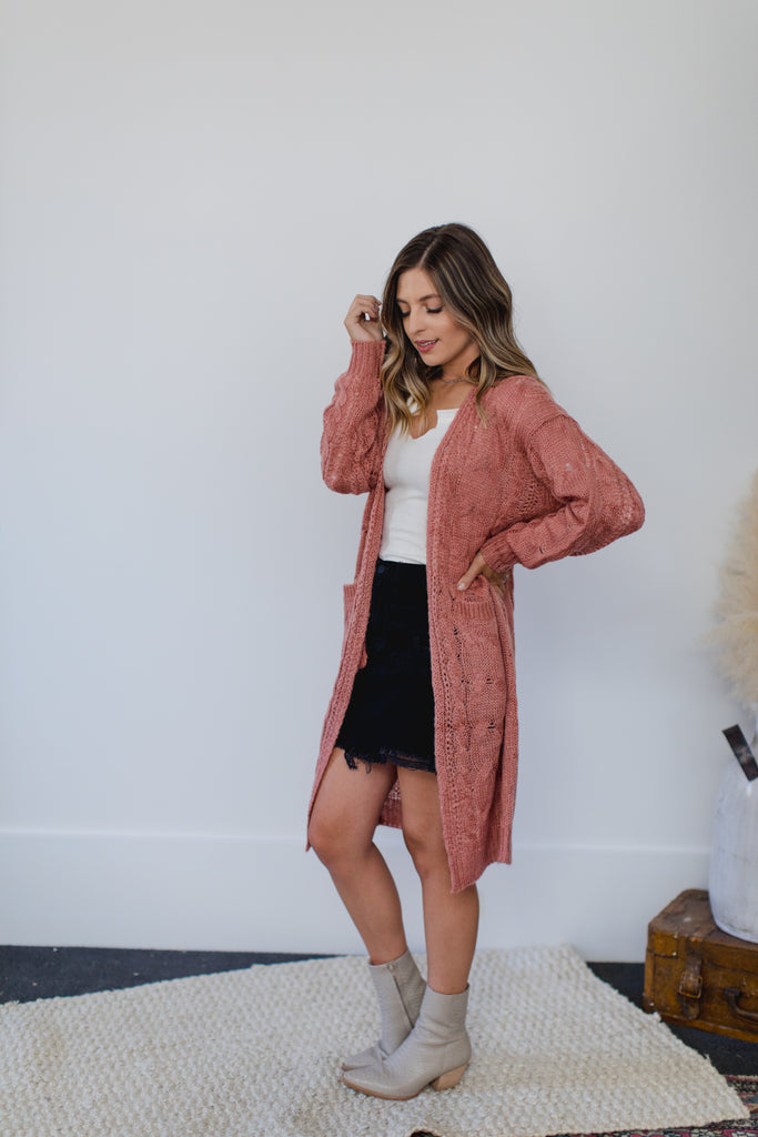 Matt Cable Cardigan- Pink