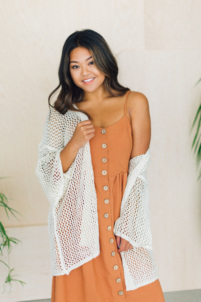 Prim Boutique Beach Waves Open Weave Knit Kimono Natural/Tan