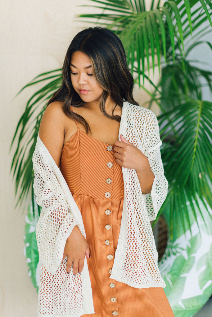 Beach Waves Open Weave Knit Kimono Natural/Tan