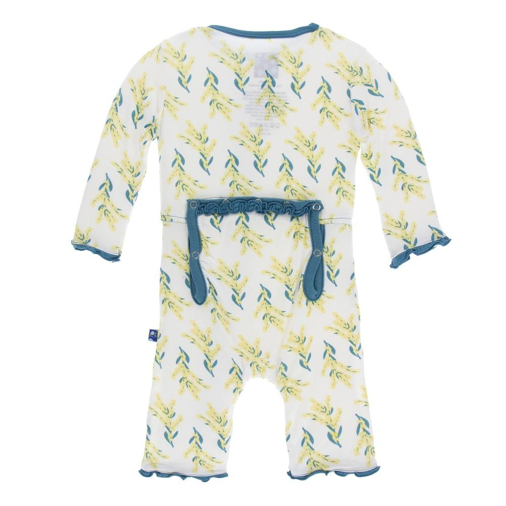 Print Muffin Ruffle Coverall with Zipper in Golden Wattle