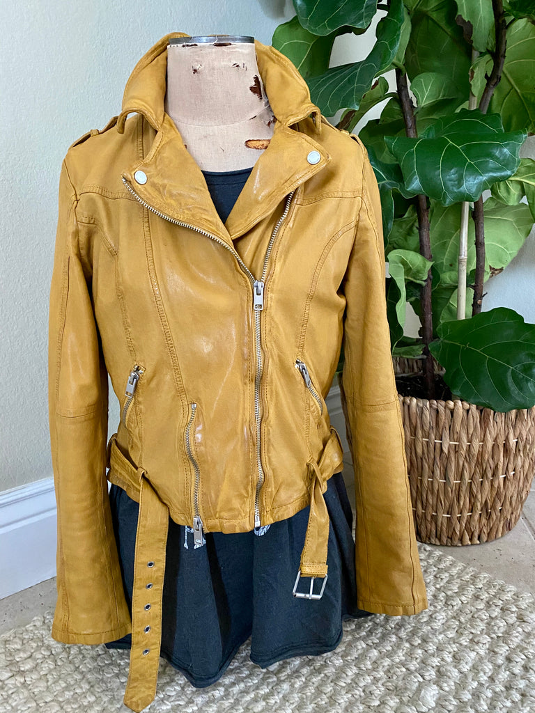 Mauritius Wildside Lambskin Leather Moto Jacket Sunrise