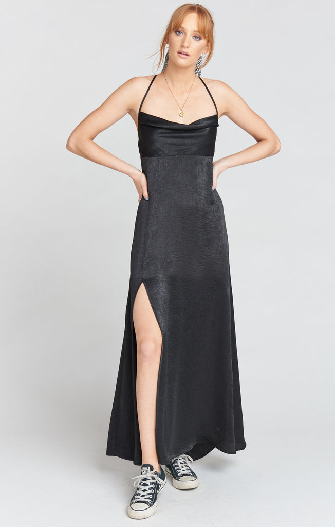 Winslet Cowl Maxi Dress in Black Sheen