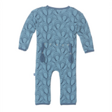 Print Footless Coverall in Blue Moon Mussels