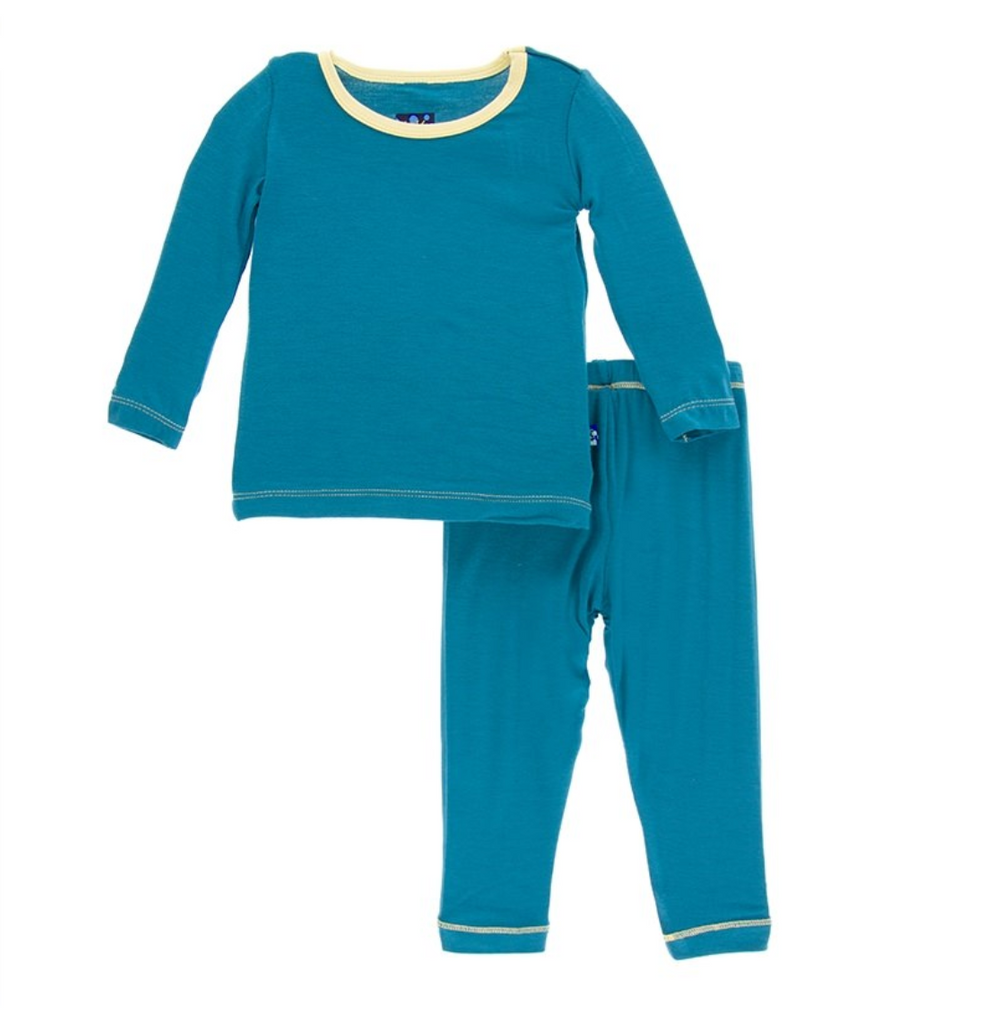 Long Sleeve Pajama Set in Seagrass with Natural Trim