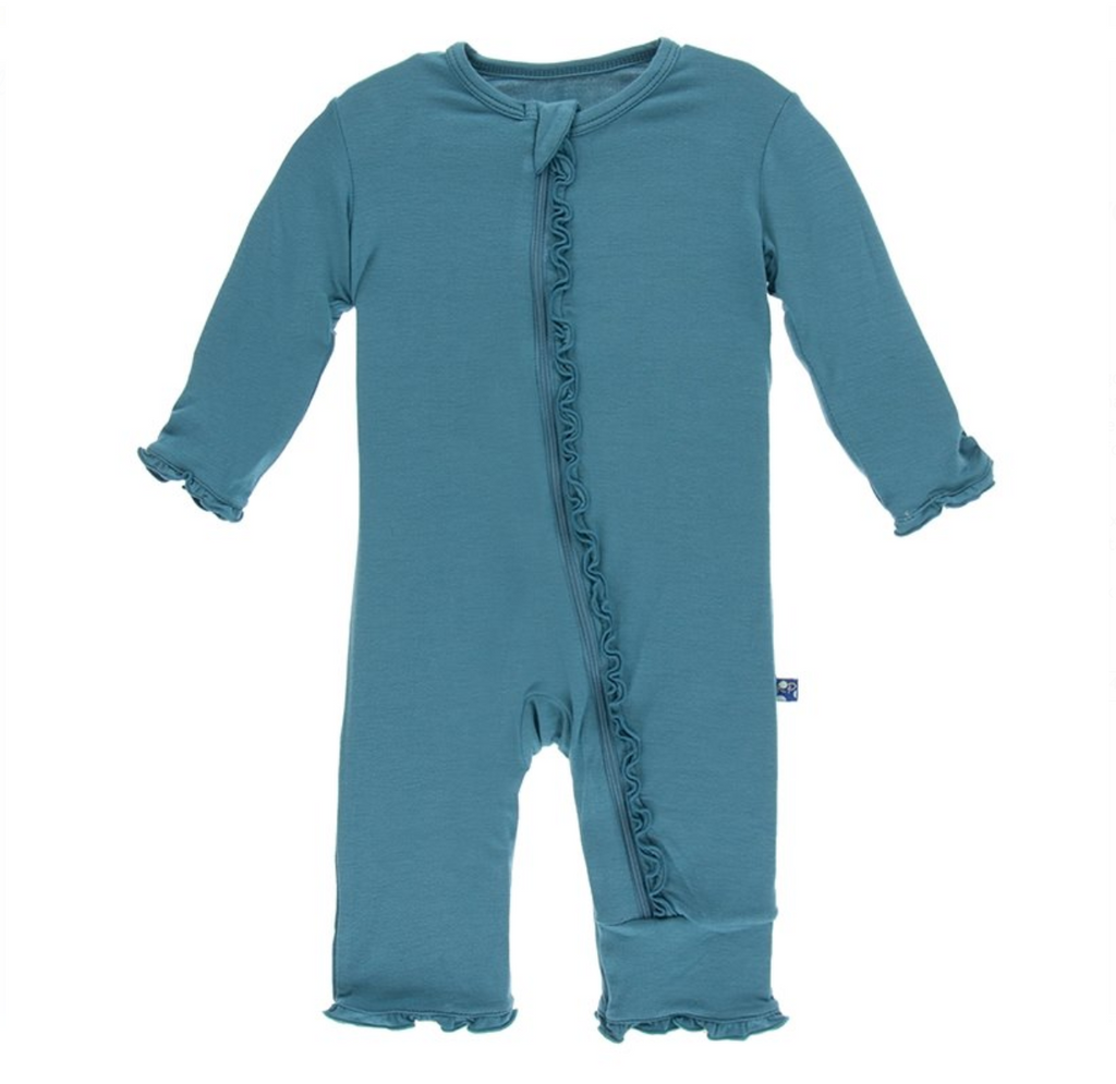 Print Muffin Ruffle Coverall with Zipper in Seagrass