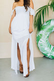 Tiare Hawaii Hollie Eylet Flutter Sleeve Double Slit Maxi Dress White