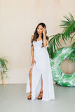 Hollie Eylet Flutter Sleeve Double Slit Maxi Dress White