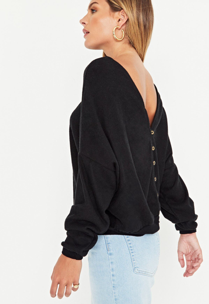 All The Feels Button Back Top- Black