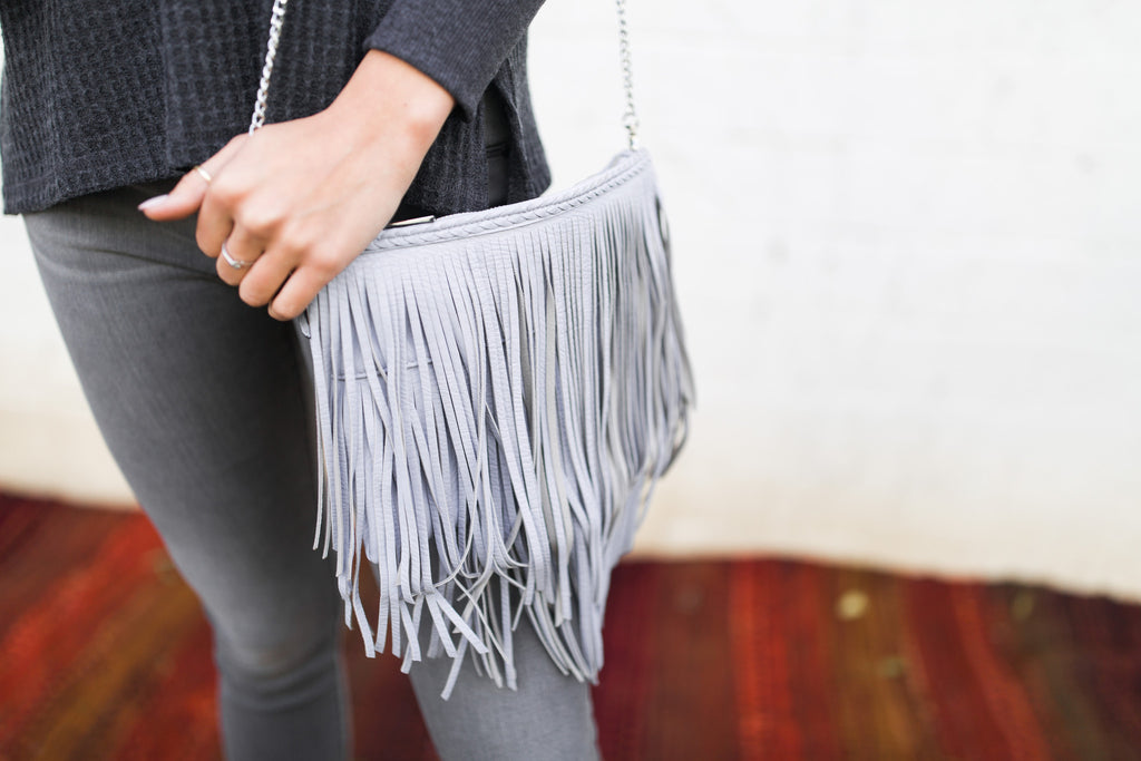 Faux-Leather Fringe Crossbody