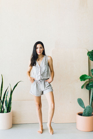 Laverne Triple Button Romper Grey Strip