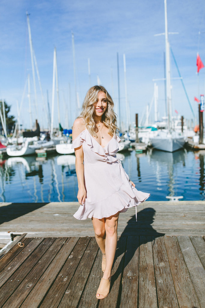 Gen Wrap Dress in Blush