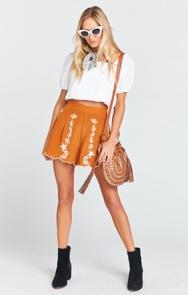 Marley Silk Shorts in Blushing Lace Camel