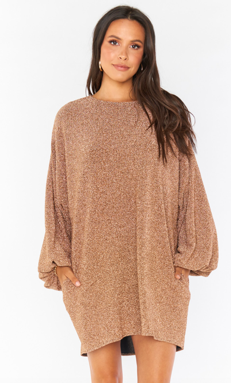 Show Me Your Mumu Sure Thing Mini Dress- Gold Shimmy Shine