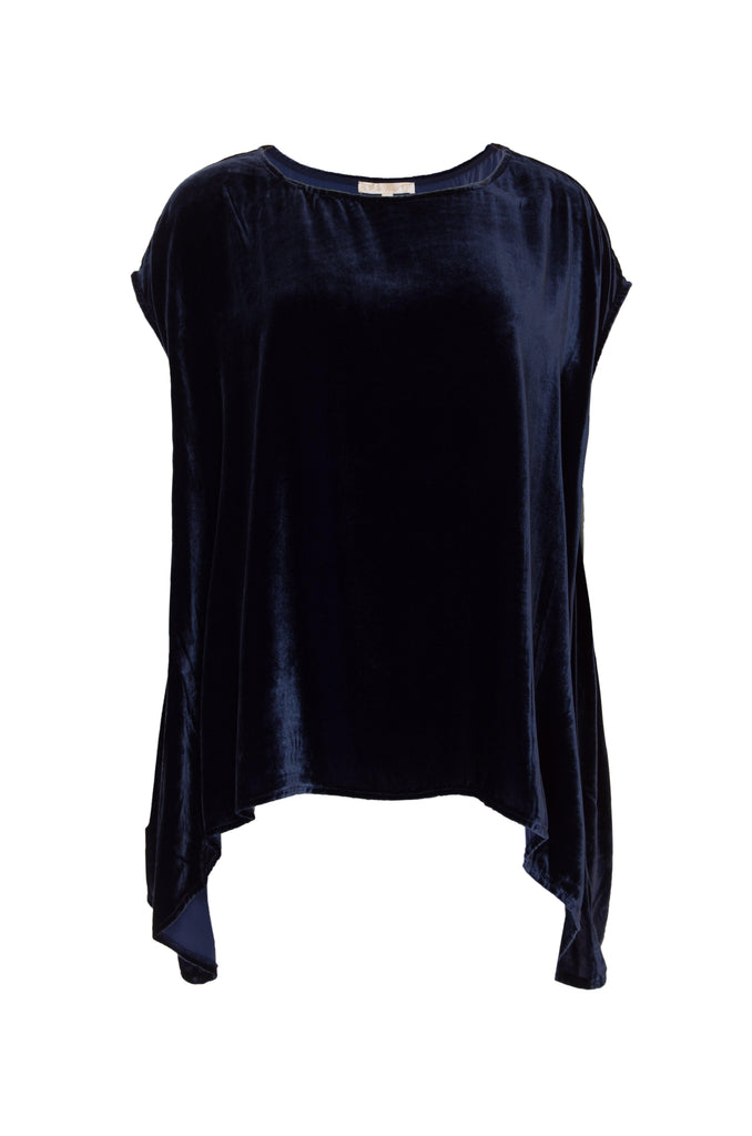 Velvet Cape Top in Navy