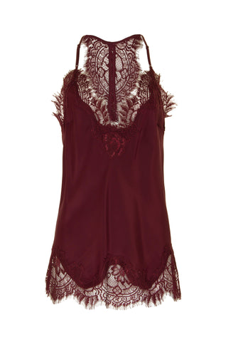 Velvet Cropped Lace Cami in Burgundy