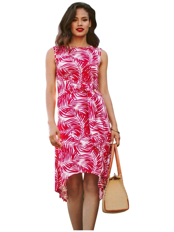 red palm printed maternity summer dress