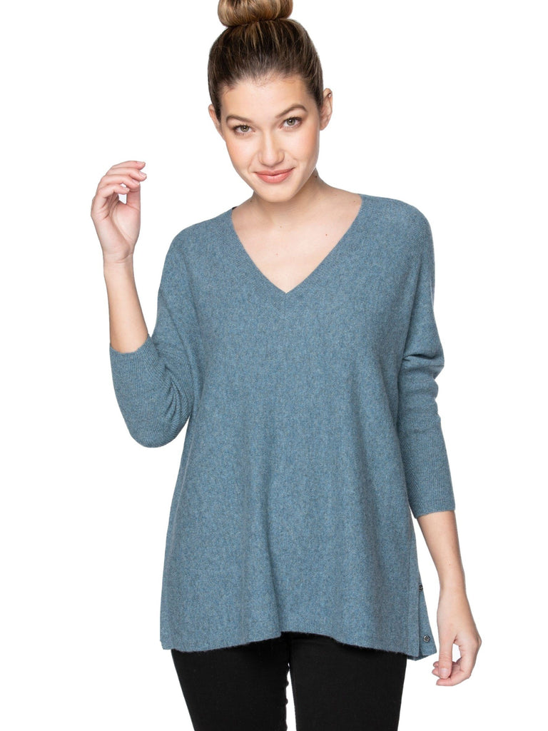 Cashmere Side Snap Top Tops MOM fave Coastal Mist XS/S