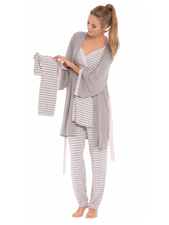 striped nursing maternity pajama set