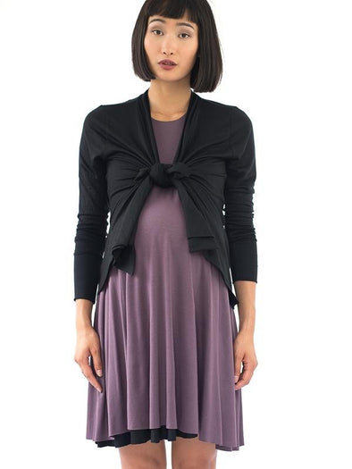 black mauve reversible maternity swing dress