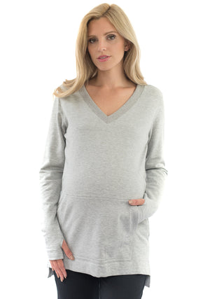 grey maternity sweatshirt with pocket