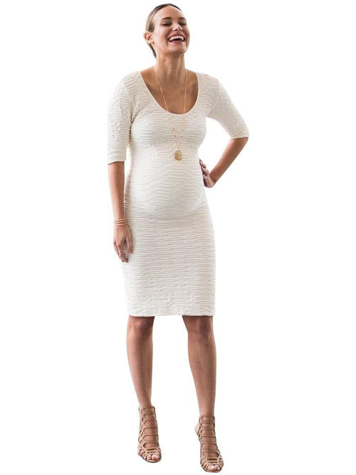 cream scoop neck maternity dress