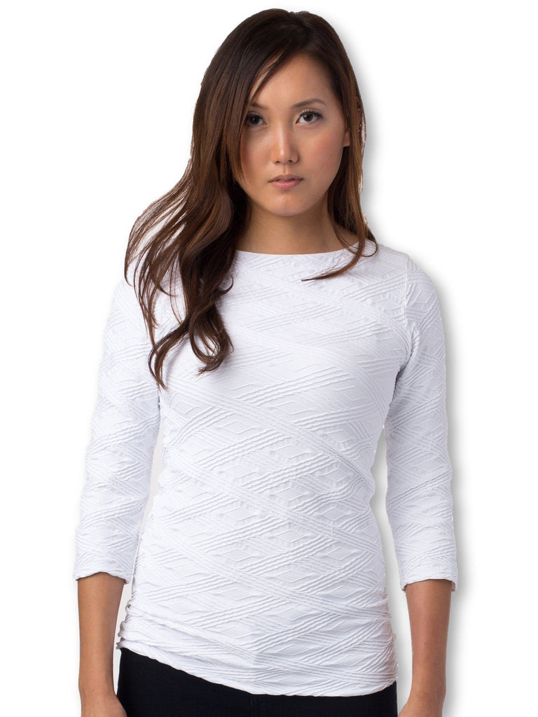 white fitted maternity top