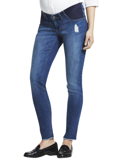 distressed maternity blue denim jean
