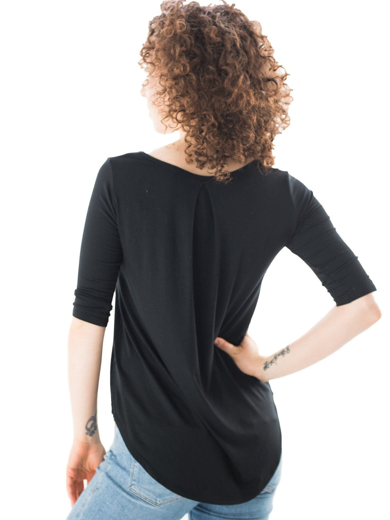 black maternity short sleeve shirt