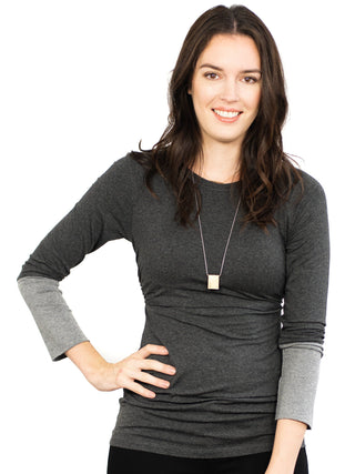 Soft Contrast Sleeve Nursing- Charcoal