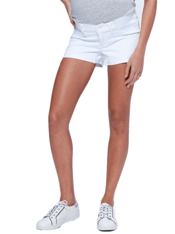 White maternity denim jean shorts