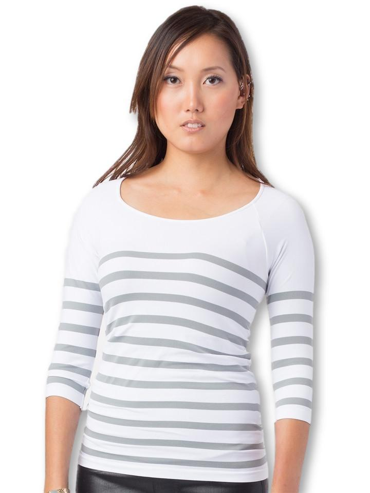 white and grey stripe maternity top