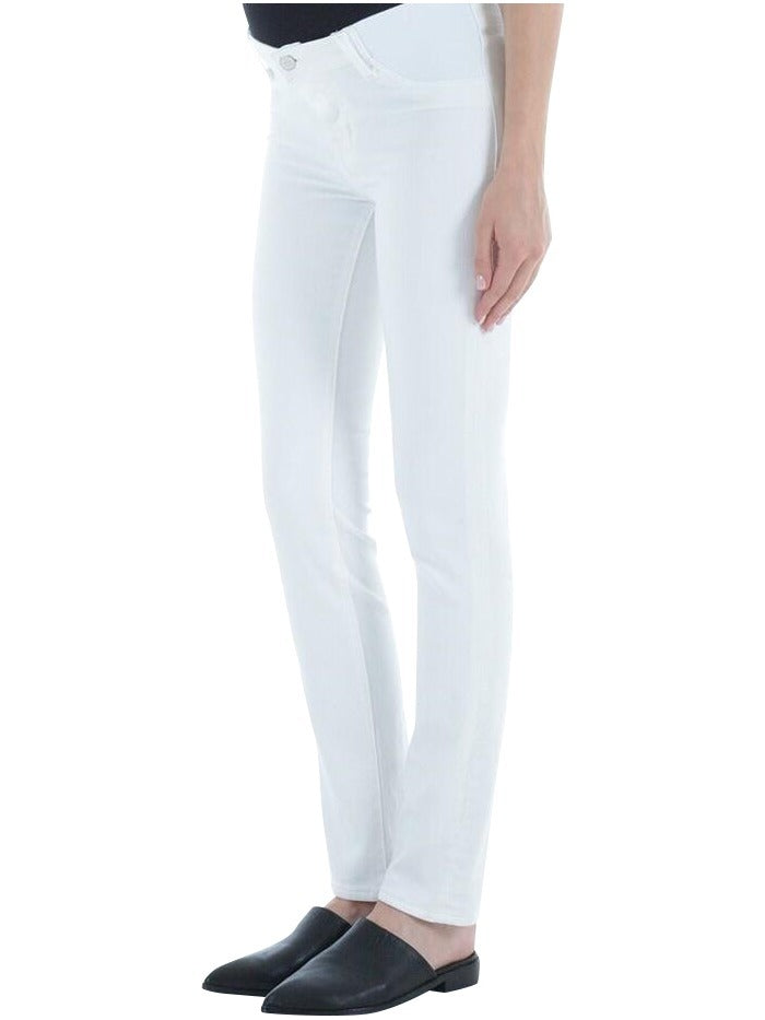 white maternity cropped denim