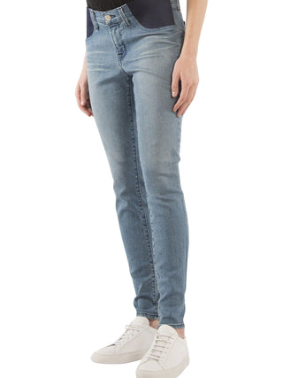 Light wash maternity skinny jeans denim