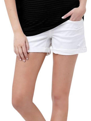 Marina Distressed BF Short- White