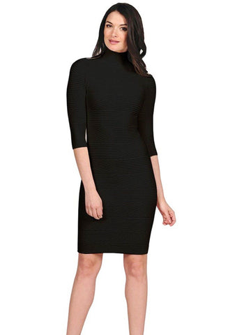 Mock Turtleneck Textured Dress Dresses Tees by Tina One SIze Black