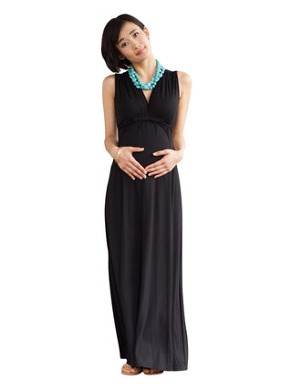 black nursing maternity maxi dress