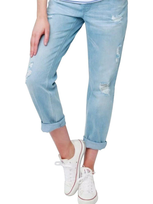 distressed maternity boyfriend jean
