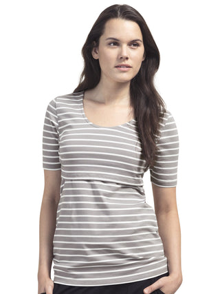 Simone Short Sleeve Nursing Top- Dusk Stripe