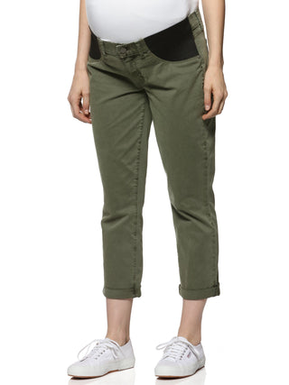 khaki green ankle maternity jeans